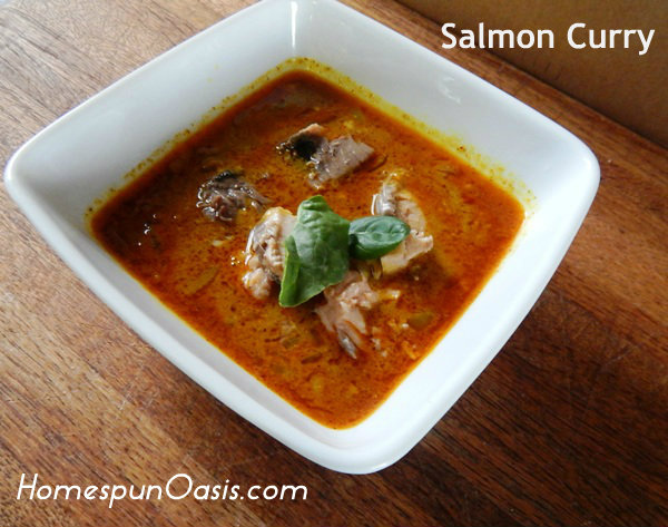Food Storage Cooking: Salmon Curry | HomespunOasis.com