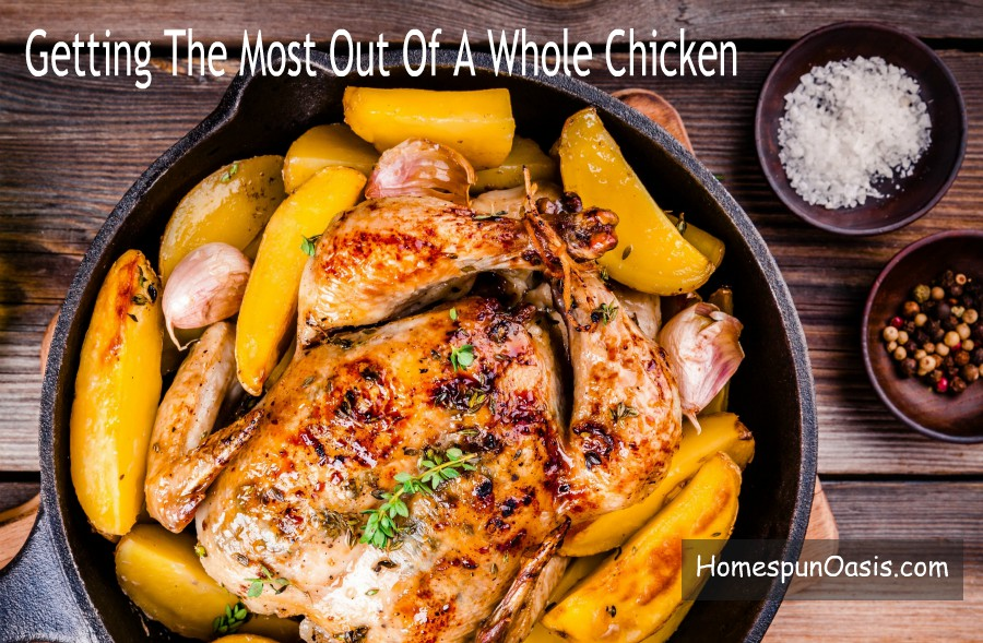 Getting The Most Out Of A Whole Chicken AKA Stretchy Chicken. | Learn how to stretch one whole chicken into at least 5 meals with my Stretchy Chicken tips and ideas! | HomespunOasis.com