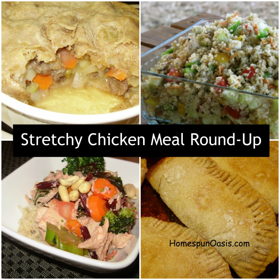 Save Money: Stretchy Chicken Meals | When you are on a tight budget it's important to get the most out of your food dollars. Stretchy Chicken is a wonderful way to turn one, whole chicken into several meals and help you save money. Here's a few great options to make the most of a whole chicken. | HomespunOasis.com