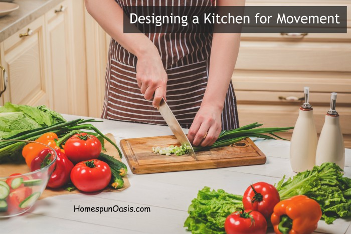 Designing a Kitchen for Movement| It's important to find ways to move each day. We're taking it a step further by creating the need for movement while designing our kitchen. | HomespunOasis.com