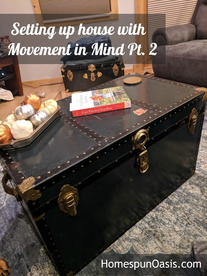 Setting up House with Movement in Mind Pt. 2 | Use vintage chests for movement-oriented storage. | HomespunOasis.com