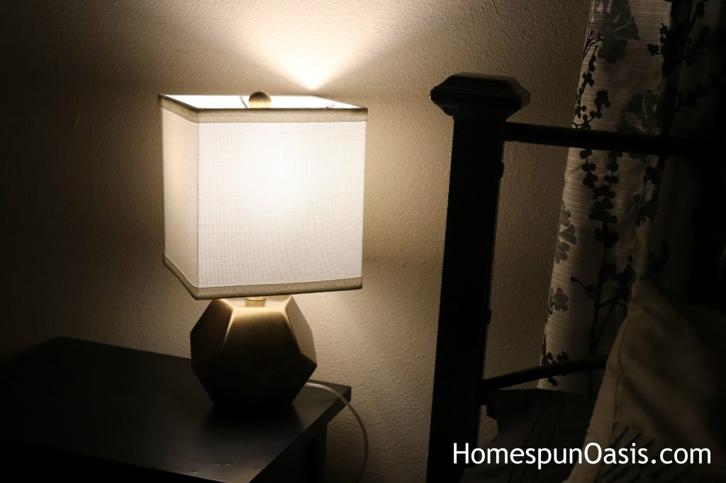These adorable cube lamps are a chic addition to any bedroom. ~HomespunOasis.com
