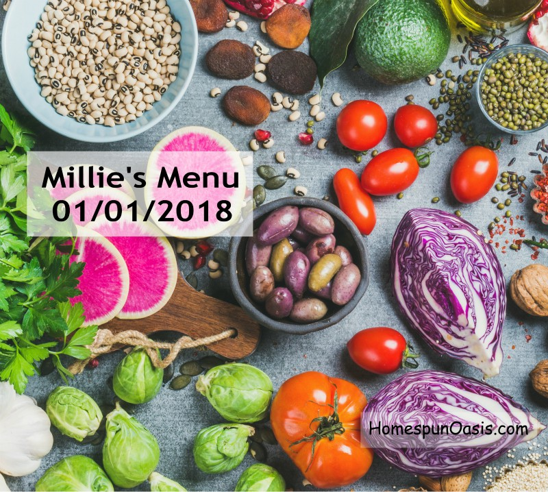 Millie's Menu January 1, 2018 | Traditional Foods and Trim Healthy Mama | HomespunOasis.com