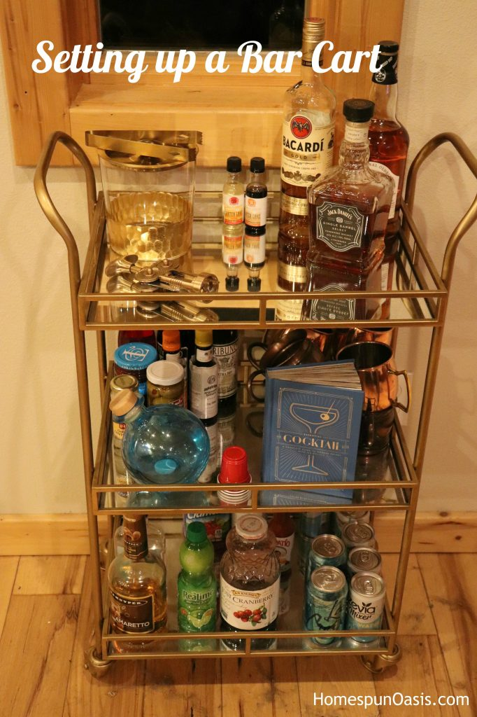 Setting up a Bar Cart | A bar car it a simple answer to an entertaining dilemma. | HomespunOasis.com