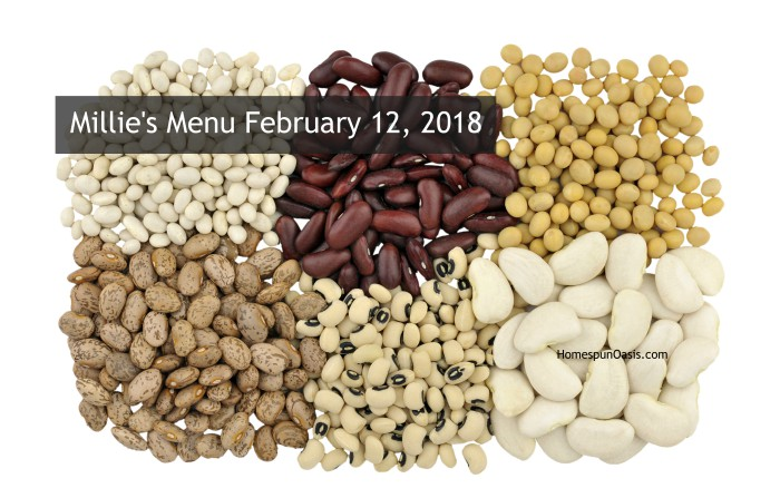 Millie's Menu February 12, 2018 | HomespunOasis.com