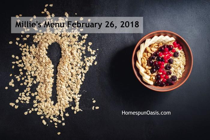 Millie's Menu February 26, 2018