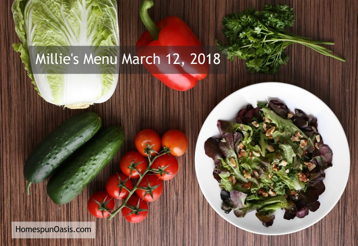 Millie's Menu March 12, 2018 | Trim Healthy Mama Purist Menu